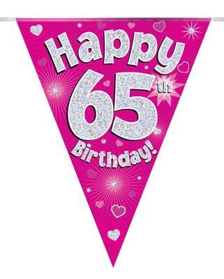 Pink Happy 65th Birthday Bunting