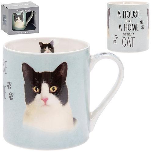 House and Home Fine China Mug - Black and White Cat