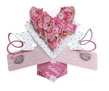 Floral Heart Birthday Pop Up Card