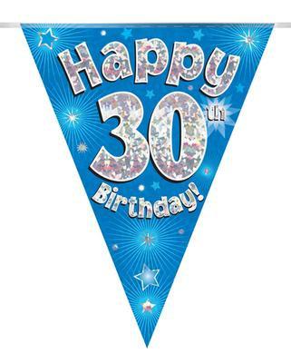 Blue Happy 30th Birthday Bunting