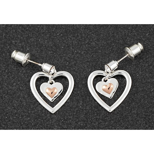 Equilibrium Polished Two Tone Heart Earrings