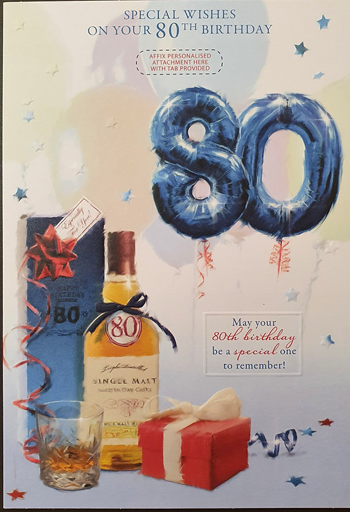 Male 80th Birthday Greeting Card - Personalise