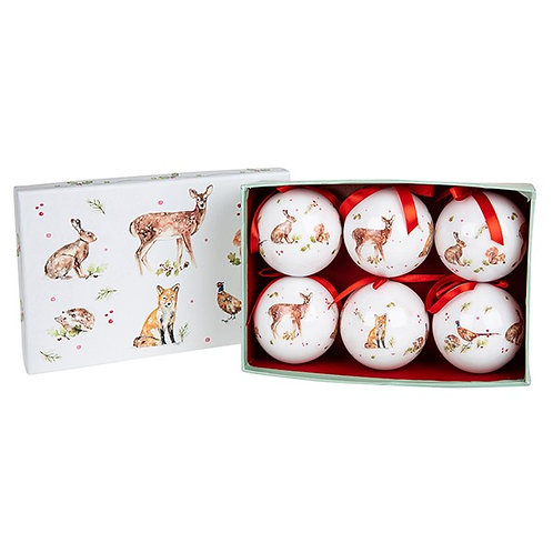 Winter Forest Christmas Baubles - Set of 6