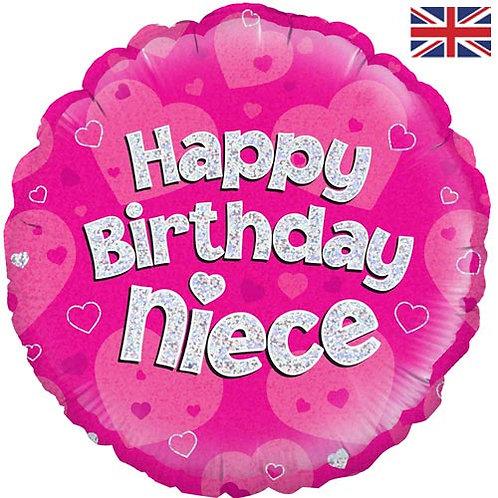 "18"" Pink Happy Birthday Niece Balloon - Helium Filled"