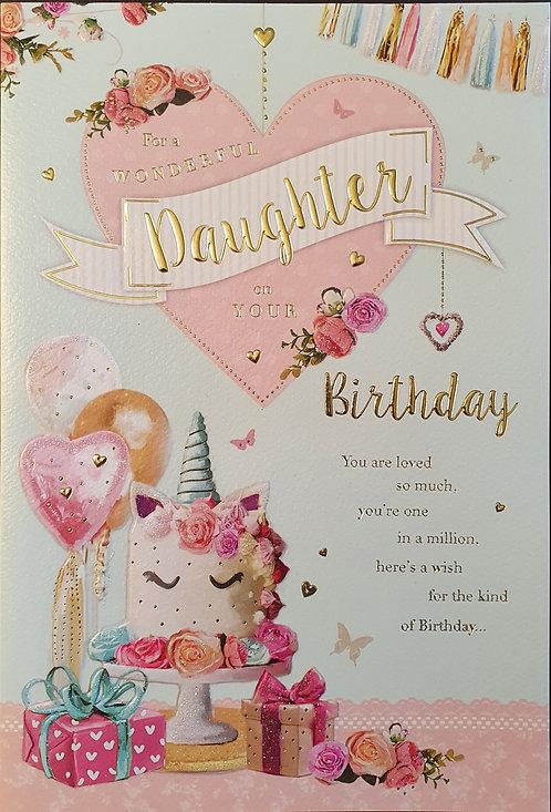 Daughter Birthday Card Unicorn Cake