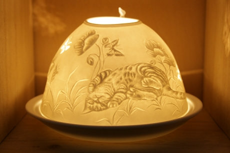 Nordic Light Candle Shade Cat and Butterfly