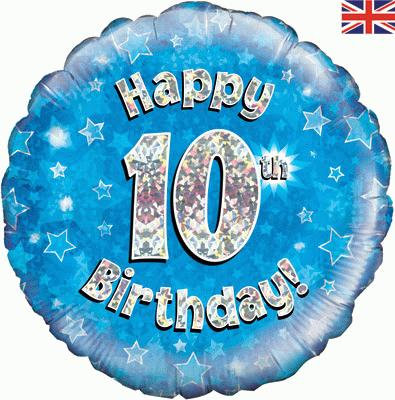 "18"" Blue 10th Birthday Balloon - Helium Filled"