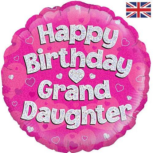 "18"" Pink Happy Birthday Granddaughter Balloon - Helium Filled"