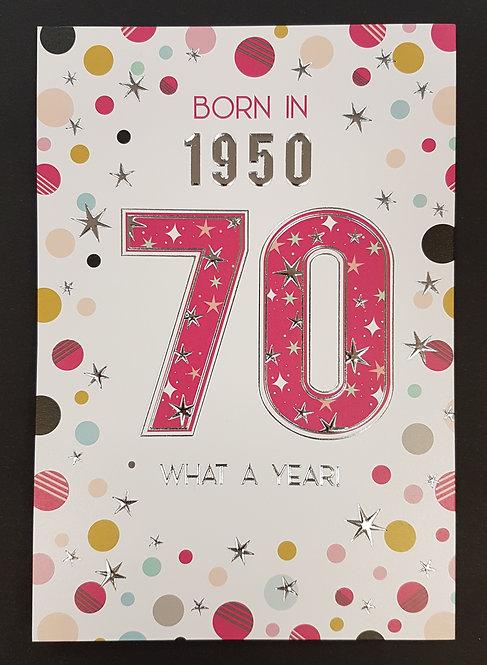 Born in 1950 - Female Age 70 Tri-Fold Card