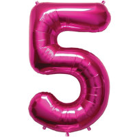large pink number 5 foil helium balloon