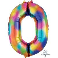large rainbow number 0 foil helium balloon