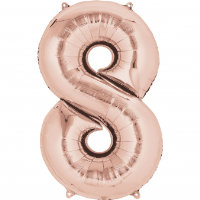 large rose gold number 8 foil helium balloon