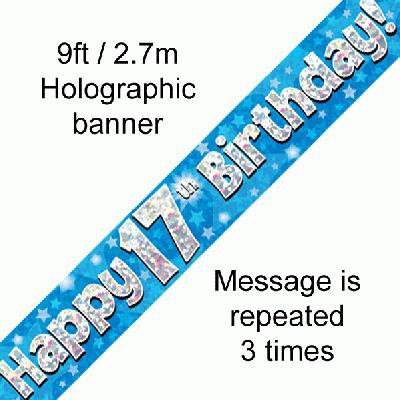 Blue 17th Happy Birthday Party Banner