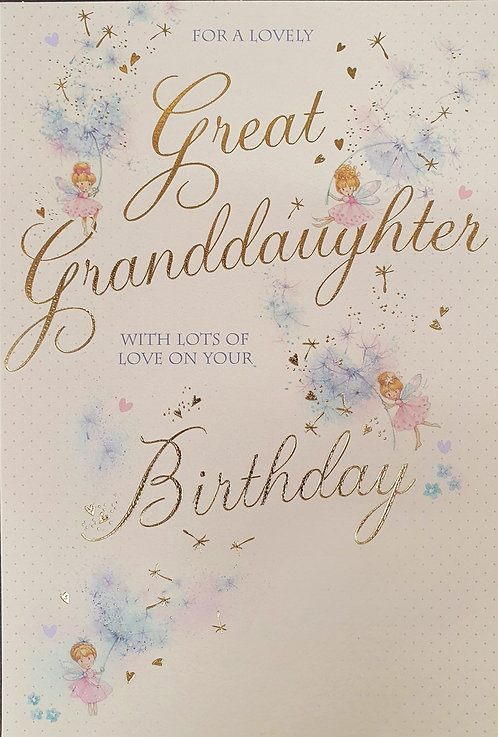 Great Granddaughter Birthday Greeting Card With Fairies