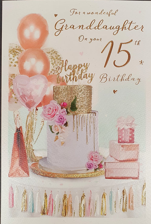 Granddaughter 15th Birthday Greeting Card Front