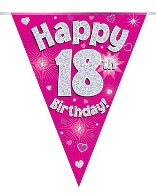 Pink Happy 18th Birthday Bunting
