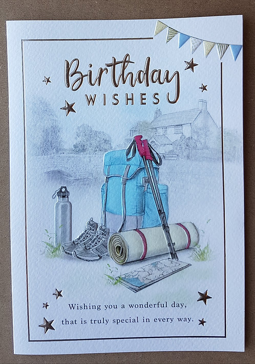 Male Birthday Greeting Card With Walking Shoes And Bag
