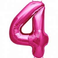 large pink number 4 foil helium balloon