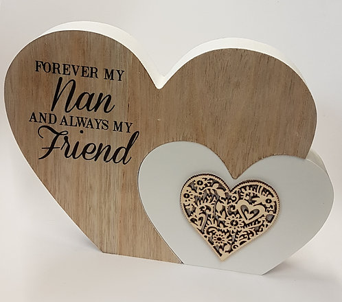 Duo Wooden Heart Plaque - NAN