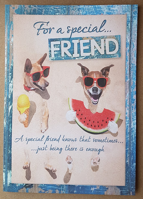 Female Birthday Greeting Card - Friend, Beach Dogs