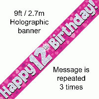 Pink 12th Happy Birthday Party Banner