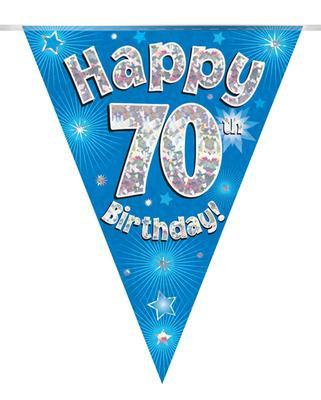 Blue Happy 70th Birthday Bunting
