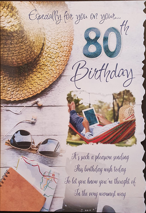 80th Male Birthday Card