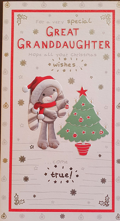 Great Granddaughter Christmas Greeting Card - Hun Bun