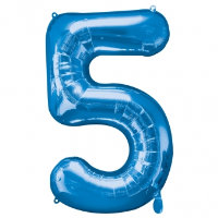 large blue number 5 foil helium balloon