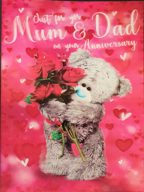 Mum And Dad 3D Me To you Anniversary Greeting Card Front