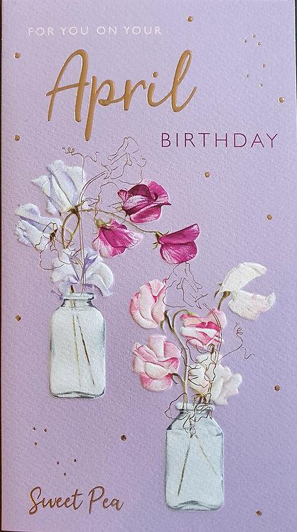 April Birthday Greeting Card - Sweet Pea