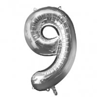 large silver number 9 foil helium balloon