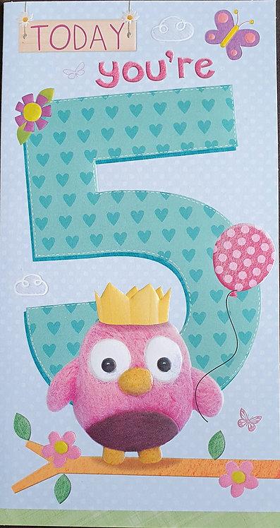 5th Female Birthday Card