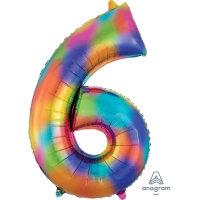 large rainbow number 6 foil helium balloon