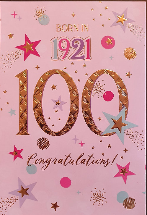 Born in 1921 - Female Age 100 Tri-Fold Birthday Greeting Card