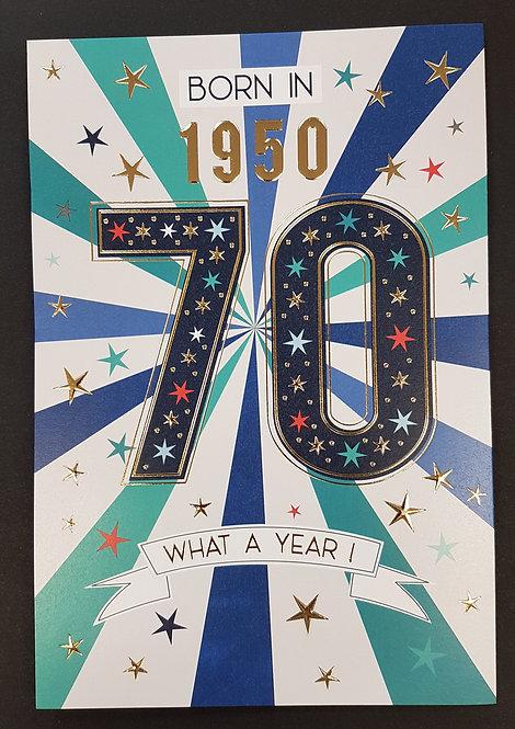 Born in 1950 - Male Age 70 Tri-Fold Card