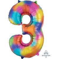 large rainbow number 3 foil helium balloon
