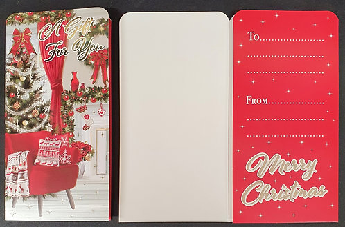 Christmas Money Wallet with Chair and Christmas Tree Scene