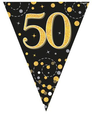 Black And Gold Happy 50th Birthday Bunting