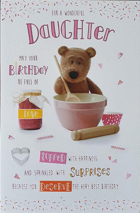 Daughter Birthday Greeting Card - Barley Bear