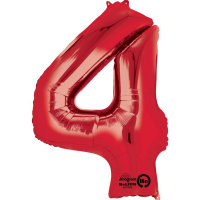 large red number 4 foil helium balloon