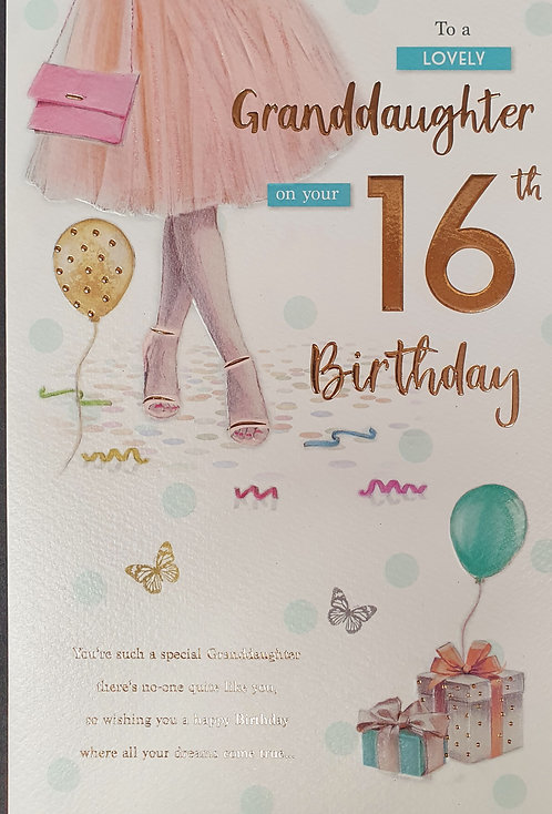 Granddaughter 16th Birthday Card
