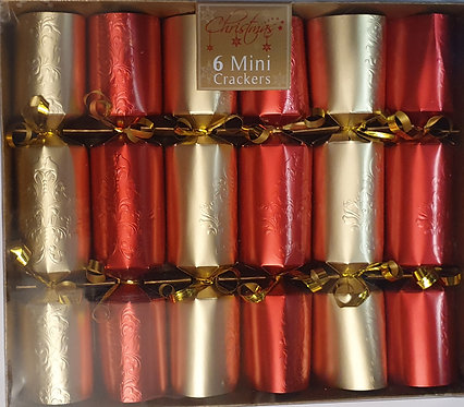 Red and Gold Mini Christmas Crackers - Box of 6