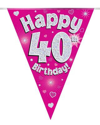 Pink Happy 40th Birthday Bunting
