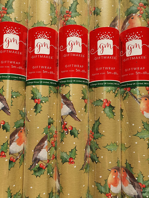 Christmas Wrapping Paper - Robins