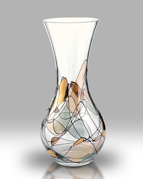 Gold Mosaic Amphora Mouth blown Glass Vase by Nobile Glass and Giftware