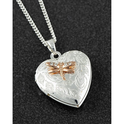 Equilibrium Two Tone Heart Dragonfly Locket