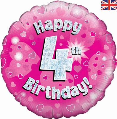 "18"" Pink 4th Birthday Balloon - Helium Filled"