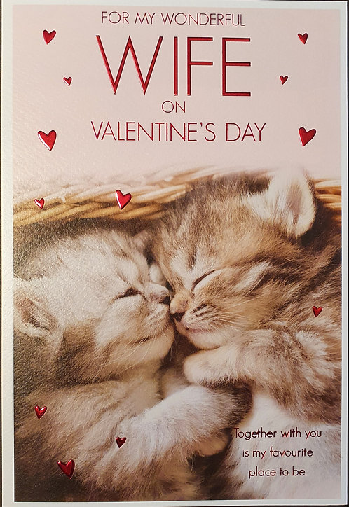 Valentine's Day Card with Kittens - Wife