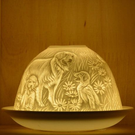 Nordic Light Candle Shade With Puppies
